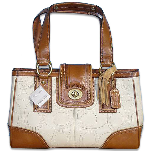 Coach 11330 Hampton Leather Signature Medium Carryall Handbag – CreamSaddle