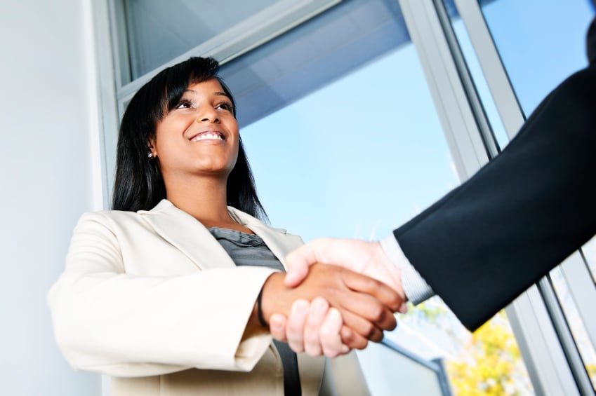 black Business woman shaking hands