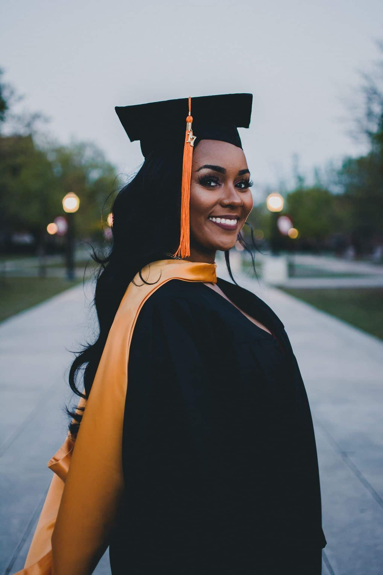 black woman wearing graduation cap