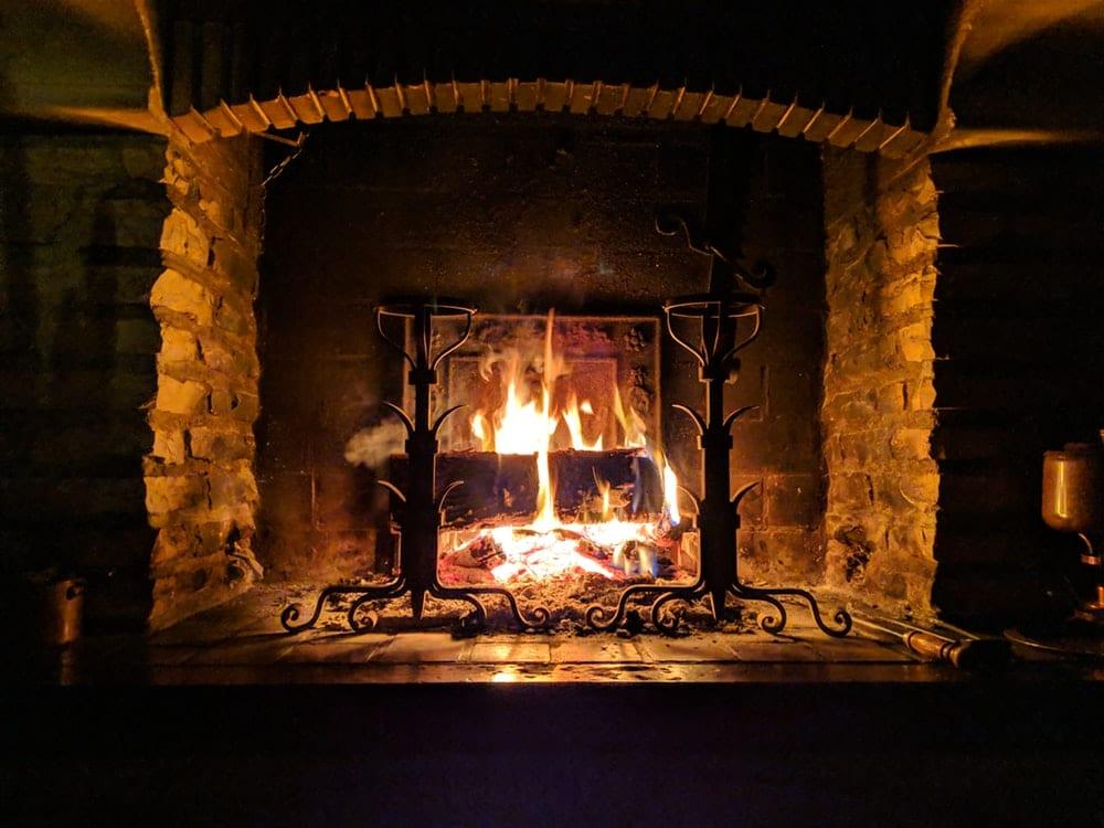 fireplace burning