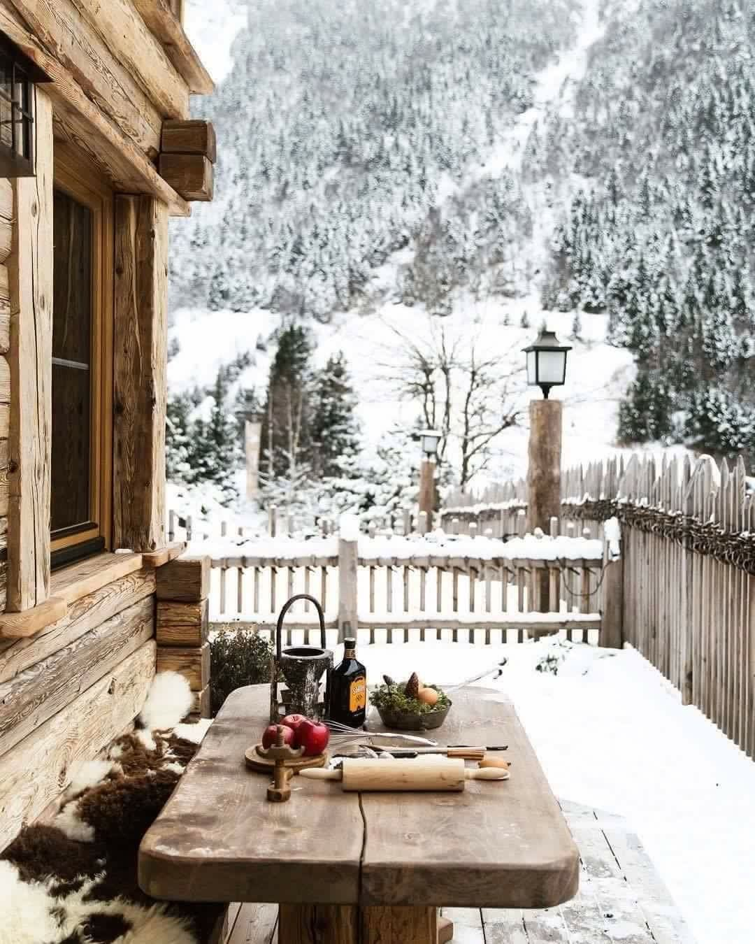 snow on a winter cabin house